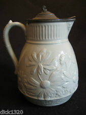 VICTORIAN LARGE SALT-GLAZED FLORAL PITCHER/JUG with hinged PEWTER DUST COVER EX