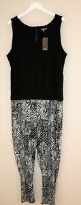 Katies Brand Black White Mono Print Sleeveless Jumpsuit Size 2XL BNWT #RG92