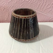 Home Interior Candle Jar Shade Topper Glass Wood Bark Look