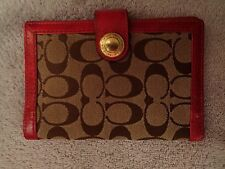 Coach Wallet Signature C Tan With Pink Patent Leather Trim