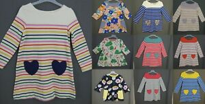 Mini Boden Girls Dress Cotton Striped Pocket Tunic Top Long Sleeve Ages 2-12 NEW
