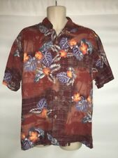 Tommy Bahama Button Front Shirt Mens Large Hawaiian Original Fit Silk Blend