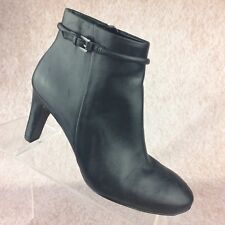 Ecco Nephi Black Leather Buckle Strap Ankle Bootie Boots Shoes - 36 EU, 5.5 US