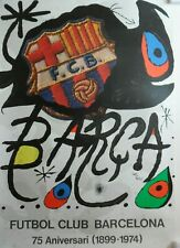 JOAN MIRO ORIGINAL RARE LARGE PENCIL NUMBERED LTD ED FUTBOL CLUB BARCELONA 1974