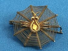 Antique Jewelry Sterling Silver Victorian Brooch Pin Spider on Web