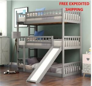 Twin-Over Triple Bed With Built-in Ladder Slide For Kids, frame Bed Guardrails