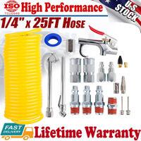 """Air Compressor Accessory Kit 1/4"""" NPT Air Tool w/ 1/4Inch x 25Ft Nylon Air Hose"""