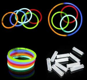 "50 To 1000 x 8"" Glow Sticks Bracelets Necklace Party Favors Neon Color Connector"