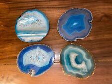 New ListingSet Of Four Large Agate Geode Crystal Coasters - Blue