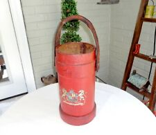 """OLD MADE IN ENGLAND CRESTED CANVAS COATED CORK FIRE BUCKET,16"""""""