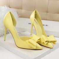 Women Pumps PU Bowknot Slip On Stilettos High Heel Party Ladies Sandals Shoes