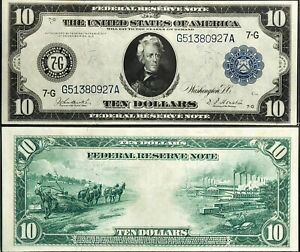 1914 | $10 | Federal Reserve Note | Fr.930 | 7-G | Chicago