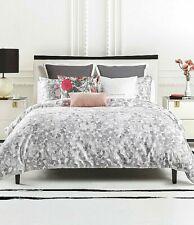 3-Pc Kate Spade Inky Floral King Comforter Set Shabby Chic Gray Brushstroke