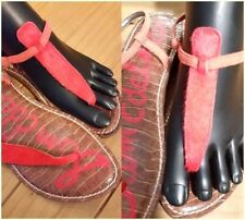 f5a7e4bd9acc3e Sam Edelman Gigi Red Ankle Strap Leather Casual Flat Thong Sandals Size 7.5M