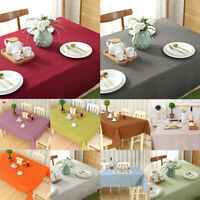 Linen Cotton Plain Tablecloth Square Rectangular Round Dining Table Cover