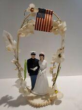 VTG 1950 Pfeil Holing Wedding Cake Topper Chalkware Marine Military Groom Bride