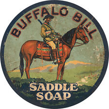 BUFFALO BILL SADDLE SOAP ADVERTISING METAL SIGN