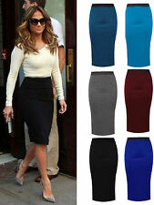 New Ladies Women Plain Stretch Viscose Pencil Office Skirts Knee Length