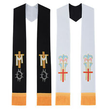 Christian Clergy Reversible Liturgical Stole Cross Lily Black White Mass Stole