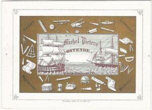 Ostend Belgium Sailmaker's Illustrated Polychrome Trade Card Maritime Ship Sail