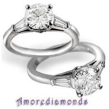 2.41 ct GIA I VVS2 natural round baguette diamond 3 stone ring platinum size 5