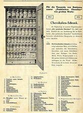 Chemikalien-Schrank zum Experimentierkasten  Historische Reklame von 1913