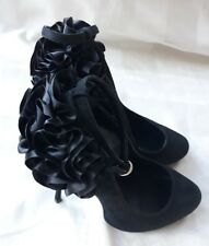 STUNNING OFFICE BLACK SUEDE LEATHER COURT SHOES IN VGC! FORMAL, PARTY, WEDDING