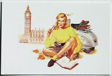 VESPA POSTCARD w/sexy English scooter girl Piaggio calendar art by Mosca Big Ben