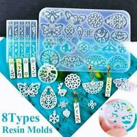 Translucent Hollow Silicone Resin Mold Earring Pendant Mould DIY Craft P5R9