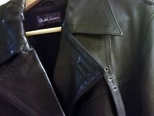 Ralph Lauren Purple Label Calfskin Leather Trench Coat black made in italy 36 S