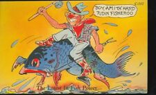 DUNDEE,MICHIGAN-COMIC-GREETINGS-THE LATEST IN FISH POWER-(C707)LINEN-(MICH-D)