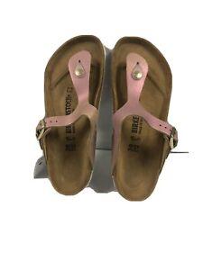 Birkenstock Gizeh Pink Metallic Leather Toe Post Sandals #39 Women's 7 Regular