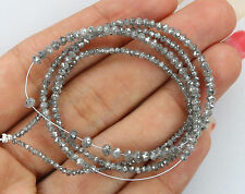 18.25 CT NATURAL Loose Diamond Round Faceted Beads poivre et sel 43.00 cm Q177