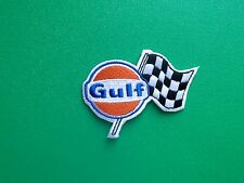 MOTOR RACING OILS, FUELS & TYRES SEW ON / IRON ON PATCH:- GULF (b) CHECK FLAG