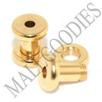 1486 Screw on/fit Steel Anodized Gold Tunnels Earlets Plugs 8 Gauge 8G 3.2mm 2pc