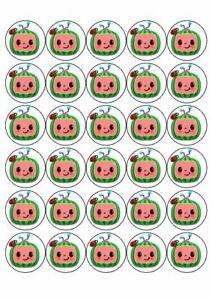 30 x Cup Cake Edible Topper Edible Rice Paper Cocomelon Melon Birthday Party