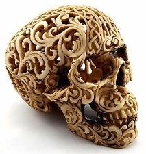 Skull Head Skeleton Carved Halloween Statue Figurine Ornament Sculpture *19 cm*
