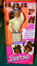 1986 African American Super Hair Barbie Doll NRFB NIB 3296 Make Fantastic Styles