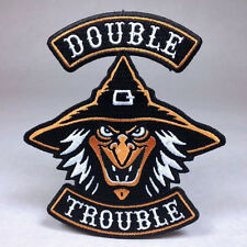 Hallows Eve Halloween Biker Patch: Double Trouble - Witch Pumpkin Ghost Haunt