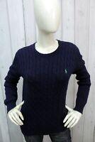 RALPH LAUREN Taglia S Maglione Donna Blu Sweater Cotone Pullover Woman Maglia