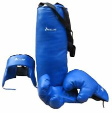 de boxeo para niños Kit azul GUANTES cabeza bolsa headguard completa del sacador