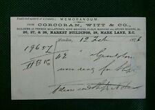 CORCORAN WITT AND CO BUILDERS OF FRENCH MILLSTONES 1876 MEMORANDUM POSTCARD