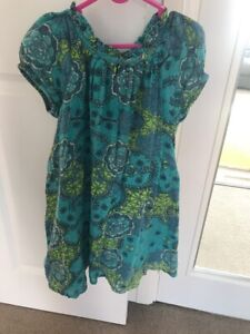 FRENCH CONNECTION GIRLS 100% COTTON GREEN PRINT DRESS SIZE 6-7 YEARS