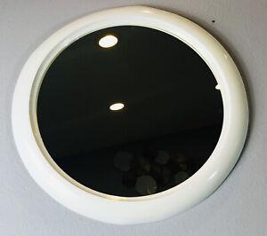 Vintage 1998 Umbra Hub Mirror Oval 16x16 In. White Modern Designer Rounded Frame