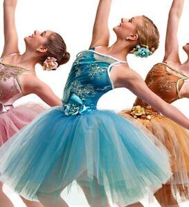 "CURTAIN CALL Floral Blue Ballet Dance Costume Long Tutu ""Enchanted"" CHILD LARGE"