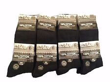 6 Pairs Mens Socks 100% Cotton Black Comfort Mans Dress Socks UK Size 6-11
