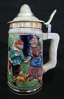 Vtg Ceramic Beer Stein Mug w Pewter Lid w Hunting & Schloss Anholt Castle Scenes