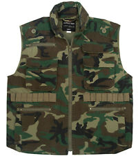 Kids Ranger Travel Vest Woodland Camo Camouflage Hunting With Hood Rothco 8555
