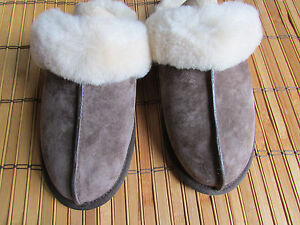 UGG Slipper Shoes Water Resistant Leather Scuffs Brown Fits 6-6.5
