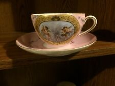 Antique French Porcelain Hand Painted Large. Cup Saucer Cherubs Roses Gold #2